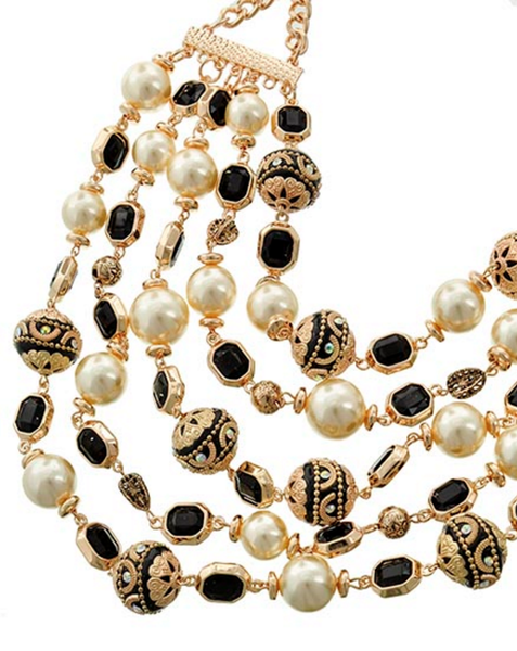 Gold, Black & Pearl Multi-Strand Necklace & Earring Set