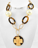Gold/Tortoise/Cream Pearl Link Cross Necklace