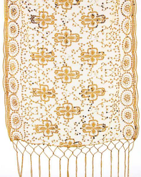 Gold Sequin Tasseled Shawl