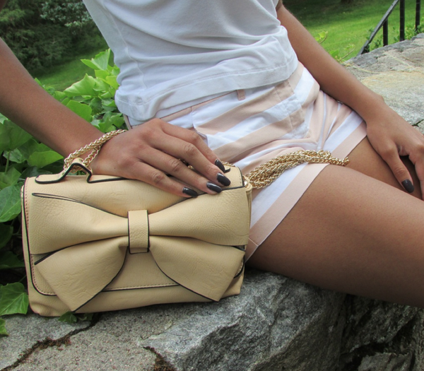 Beige Bow Purse