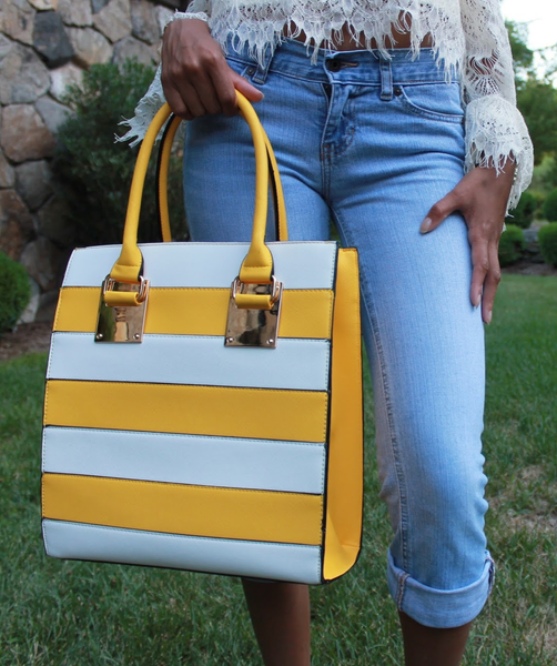 Yellow & White Striped Box Satchel