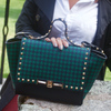 Black & Green Houndstooth Handbag