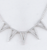 CZ Lined Chevron Cutout Pendant Necklace