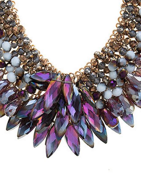 Faceted Jeweled Beaded Bib Necklace Set