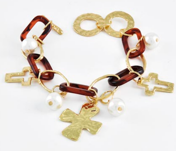 Brown Acrylic Link & Pearl Cross Bracelet