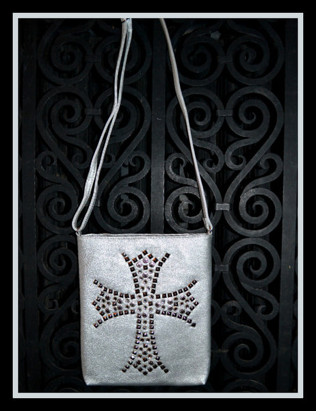 Metallic Silver Cross Handbag