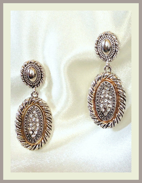 Silver Pavé Rhinestone Earrings