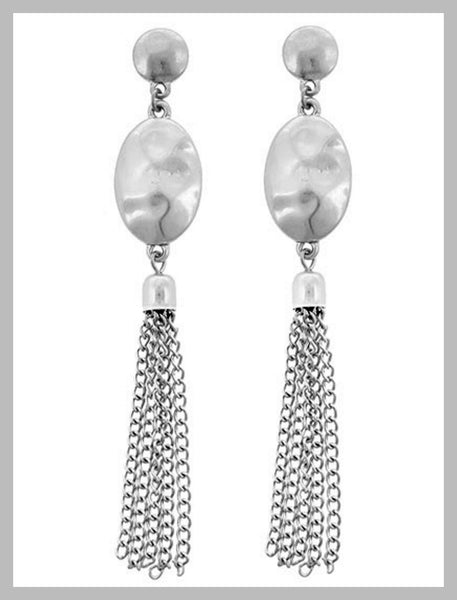 Matte Silver Tassel Chandelier Earrings
