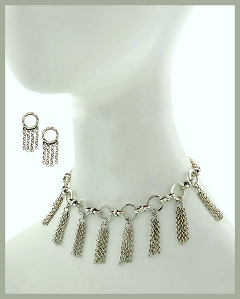 Burnished Silver Choker Necklace & Earring Set