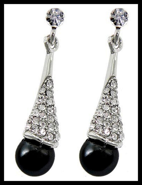 Black Pearl/Rhinestone Earrings
