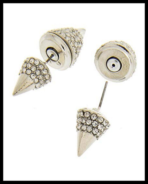 Rhodiumized Spike Earrings