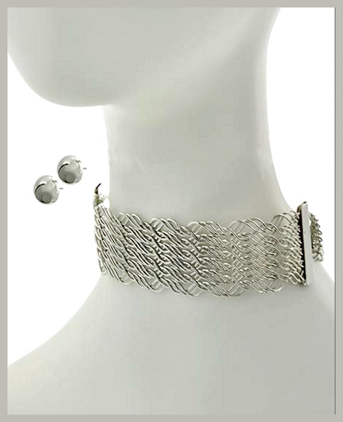 Silver Choker & Earring Set