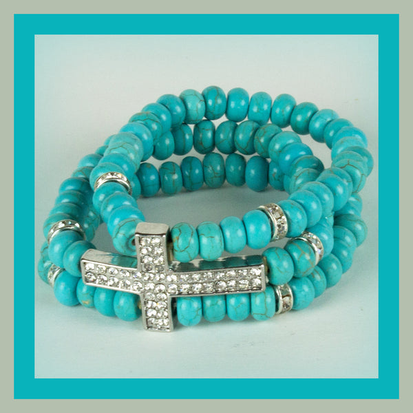 Beaded Turquoise Cross Bracelet