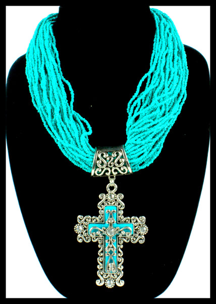 Turquoise Beaded Cross Necklace