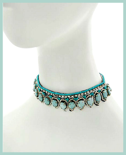 Antique Silver, Lt.Blue & Silver, Choker Necklace