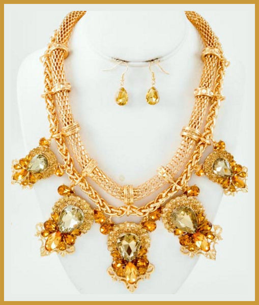 Brown Glass/Rhinestone Necklace & Earring Set