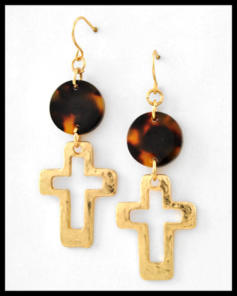 Tortoise & Cross Dangle Earrings