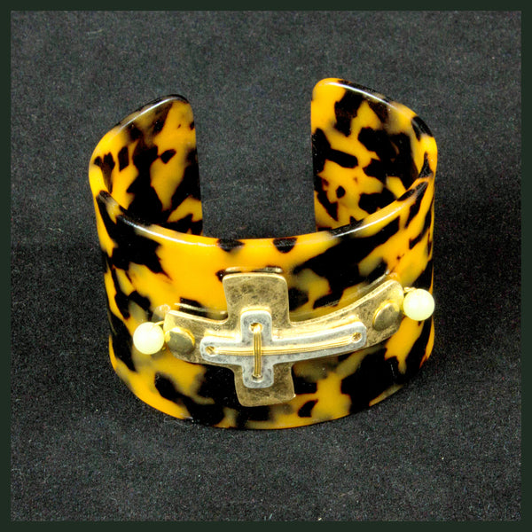 Two-Tone, Tortoise Cross Cuff Bracelet
