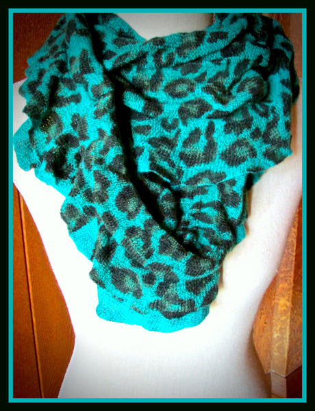 Turquoise Leopard Infinity Scarf