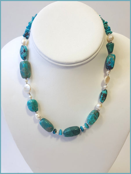 Turquoise & Saltwater Pearl Necklace