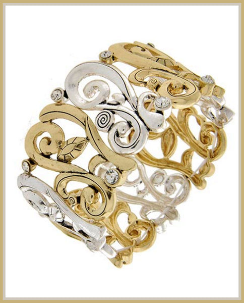 Two-Tone Filigree Stretch Bracelet