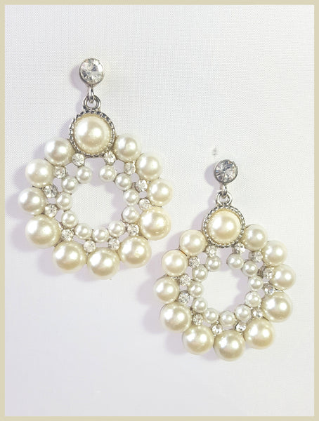 Round Crystal & Pearl Earrings