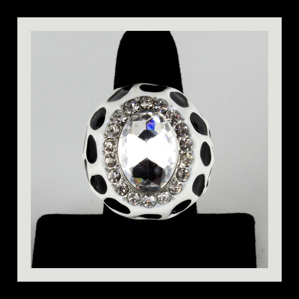 White & Black Polka Dot Ring