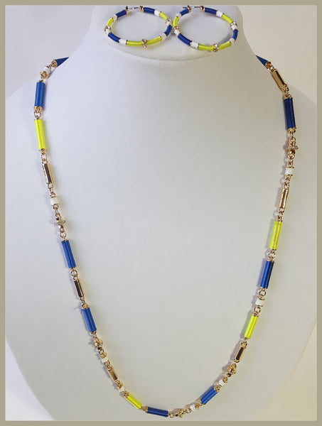 CAROLEE, Blue, Neon Green & White Necklace & Earring Set