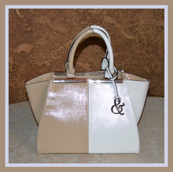 Beige & White Tote Bag