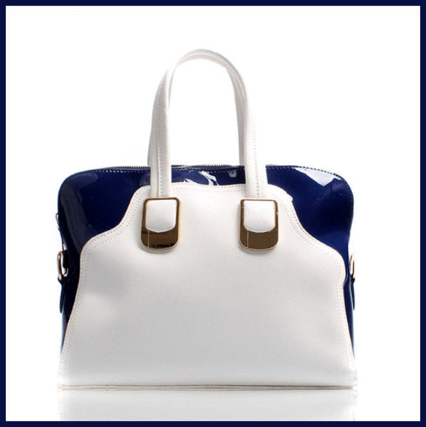 White/Royal Blue Handbag