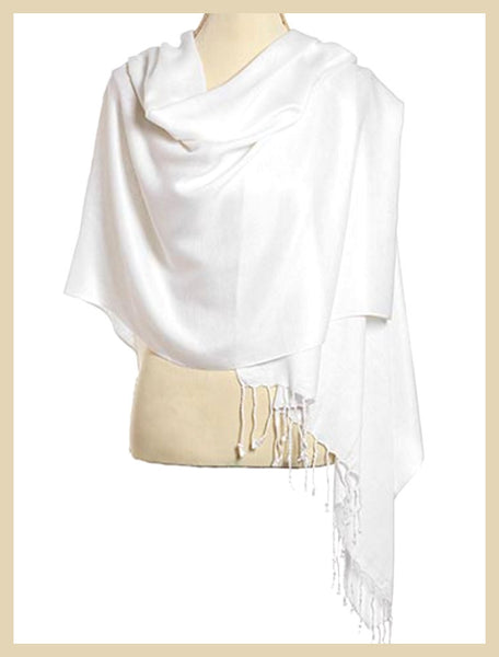 White Viscose Pashmina Shawl