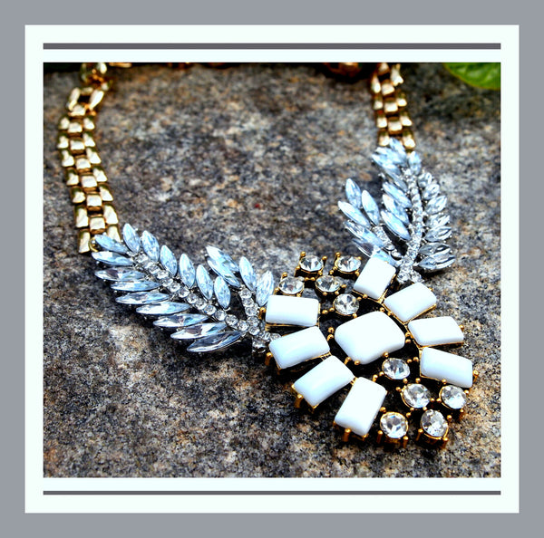 White Stone & Crystal Necklace