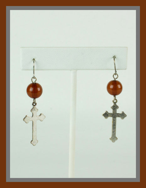 Silver Cross & Amber Bead Earrings