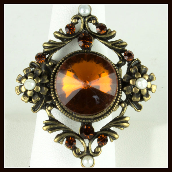 Baroque Amber Stone Ring