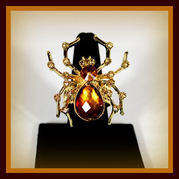 Amber Spider Ring