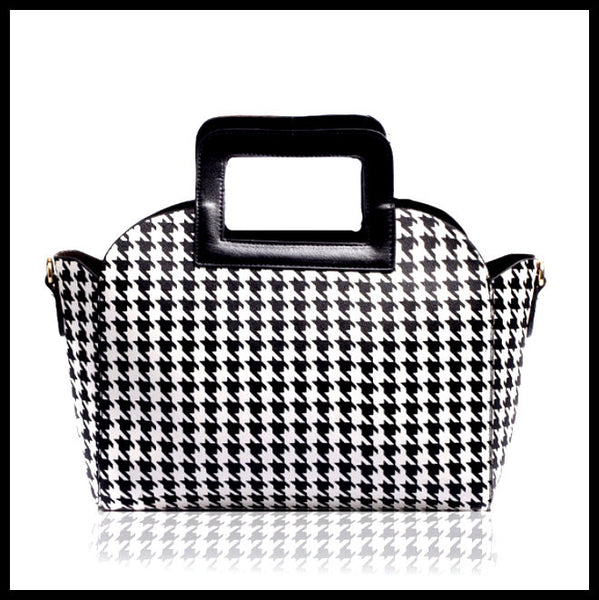 Black & White Houndstooth Print Handbag