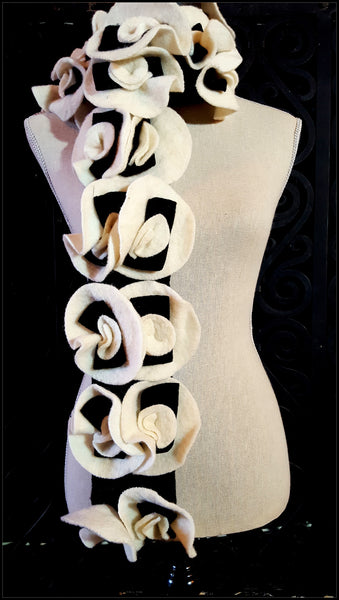 Black & Cream Wool Flower Design Scarf