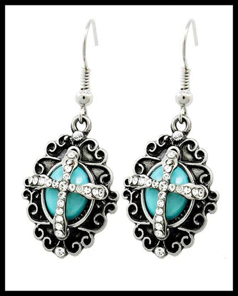 Baroque Turquoise Cross Earrings