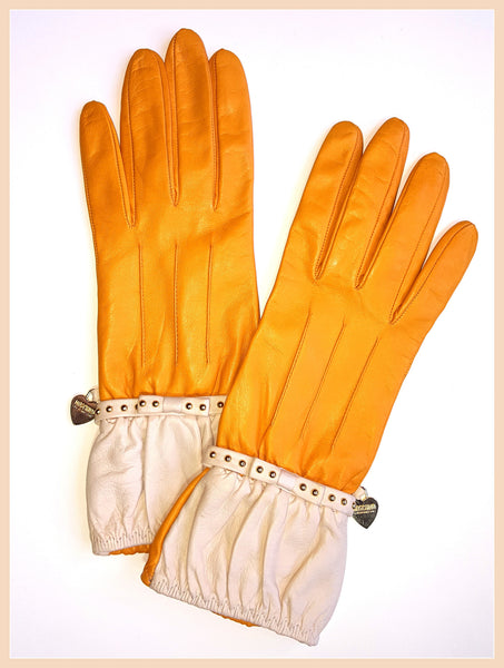 Yellow Moschino Leather Gloves Size 7