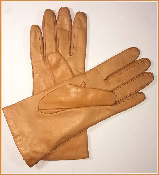 Tan Fern Embroidered Gloves