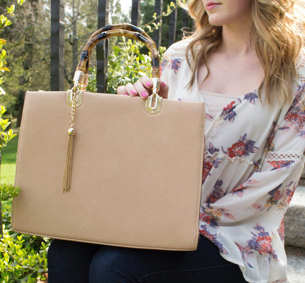 Beige Spring Style Bamboo Handle Satchel