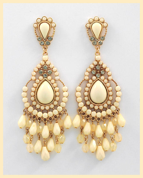 Cream Chandelier Earrings