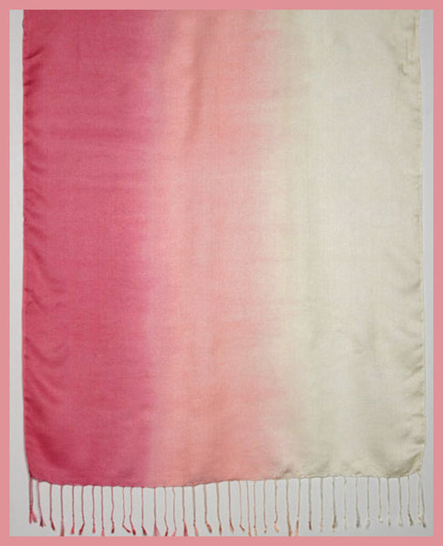 Pink/Cream Modal Ombre Scarf with Fringe