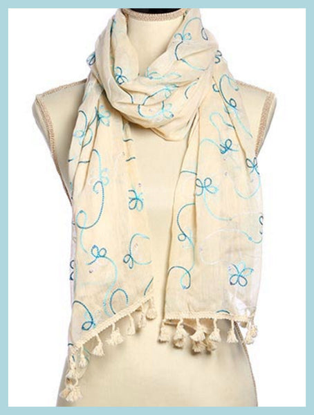 Ivory & Lt. Blue Flower Embroidery Scarf