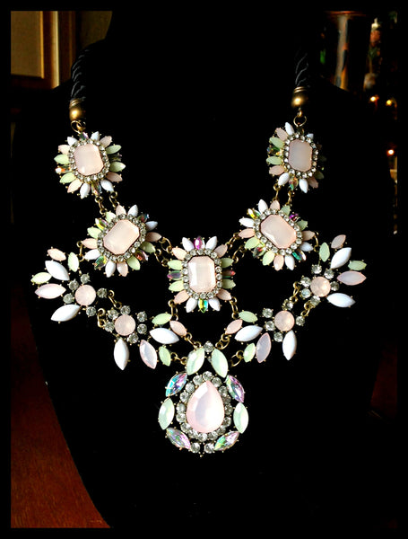 Pastel Pink & Green Stone Necklace