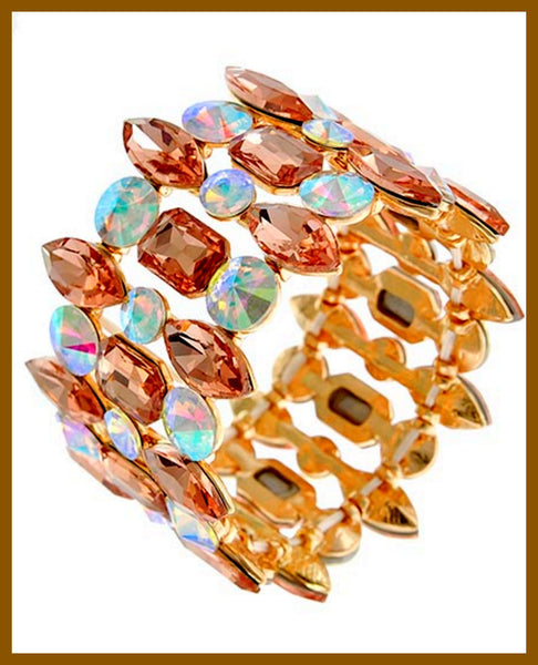 Gold, Peach & Blue Glass Bracelet