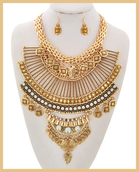 Gold/Rhinestone Statement  Necklace