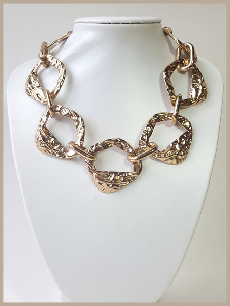 Hammered Gold Link Necklace