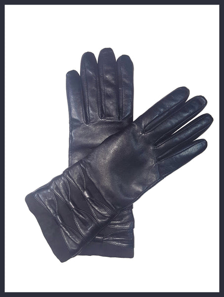 Genuine Black Leather & Suede Gloves