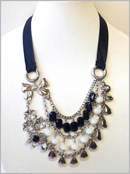 Silver, White & Black Multi-Strand Necklace